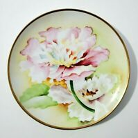 """Antique Hand Painted Italy  Ginori 8.5"""" Plate Signed- flowers and gold rim"""