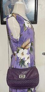 Miu Miu Nappa Matelasse Purple Leather Crystal Silver Strap Crossbody Bag Small