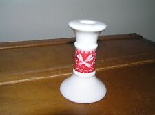 Vintage Land's End White Ceramic Candlestick Candle Holder w Red Painted Winter