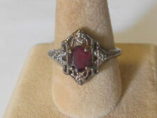 Vintage Avon Sterling Silver Art Deco Design Garnet Solitaire Ring Size 8.5
