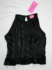 Funky Babe Girls Crinkly Velvet Sleevess Frill Party Top Age 9-10 years New