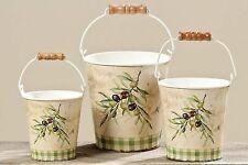 Eimer Wassereimer  mit Henkel Dekoeimer Übertopf  Pflanztopf Oliven  3er Set
