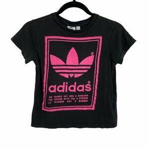 adidas black pink graphic short sleeve shirt