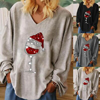 WOMEN AUTUMN T-SHIRT PULLOVER CASUAL SOLID WINEGLASS PRINT LONG SLEEVE BLOUSE My