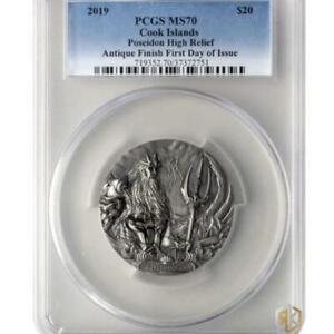 2019 Cook Islands POSEIDON - Gods of the World (MS70) 3oz Silver Antique Coin