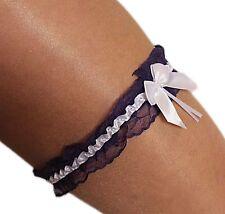 Süsses Braut-Strumpfband Hochzeit aus Spitze mit Satin-Schleife violet