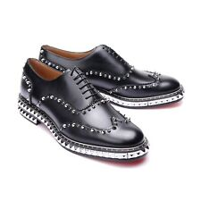 CHRISTIAN LOUBOUTIN SS15 Bolly 10 / 43 Black Studded Leather Oxford Shoes