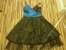 LOVELY LADIES SONIC OF LONDON BLACK/BLUE SATIN PARTY  DRESS  SIZE 10 GOTHIC