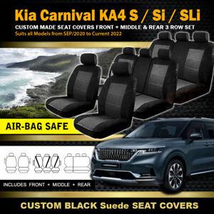 Black Kia Carnival KA4 Custom SEAT COVERS 3 Row Set S Si SLi MY21 Sep/2020-2022