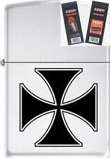 Zippo ZCB62204 Iron Cross Lighter with *FLINT & WICK GIFT SET*