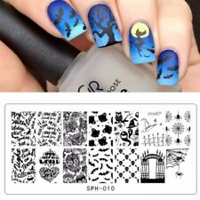 Nail Art Stamping Plates Image Plate HALLOWEEN Spiders Web Witch Bats SPH10