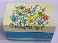 Vintage Tin Recipe Box Ohio Art Flowers on Lid