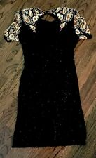 Vintage Beaded Black Evening Dress Back Sequins Medium Lawrence Kazar NY Silk