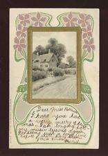 ART NOUVEAU Style Embossed rural scene + cottage Used 1903 u/b 1905 PPC