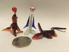 Retro Glass Animal Mini Figures Crocodile Penguin Sea Lion