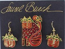Laurel Burch HOLIDAY CAT Earrings & Pin SET Christmas NEW Festive Feline Vintage