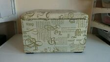 Lidded Footstool Foot Rest Cream Writing Pattern Storage Furniture Box Home Deco