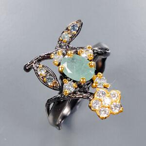 Emerald Ring Silver 925 Sterling Vintage SET Size 6.75 /R135607