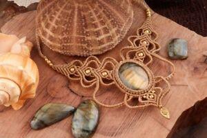 Labradorite Macrame Necklace Pendant Jewelry Cabochon Stone Handmade Waxed Cord