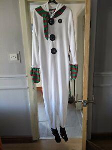 Adult Snowman Fleece Onesey One Piece  Size M/L All In One Fancy Dress