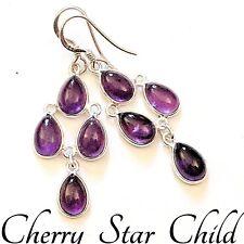 Solid sterling 925 silver polished purple amethyst teardrop earrings drops