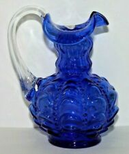 "Beautiful Vintage Fenton Cobalt Blue Drapery & Beaded 4 3/4"" Tall Pitcher"