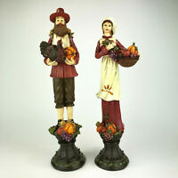 "Thanksgiving Pilgrim Pair Figurines 14"" Tall Harvest Fall Decor"