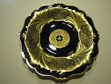 """Antique Cobalt and Gold Weimar Porcelain Charger 13"""" Germany"""