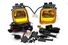 96-98 Honda Civic EK 2/3/4 door JDM Yellow Glass Fog Light Kit Square + Switch