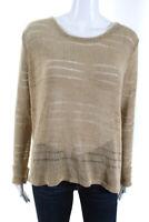 Rag & Bone Womens Long Sleeve Boat Neck Knit Sweater Beige Cotton Size Small