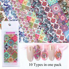 10pcs Flower Holographic Nail Foils Set Starry Paper Transfer Sticker Nail Decor