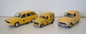 Lot de 3 Voitures Miniatures La Poste Renault 4L Renault 12 Break Simca Aronde