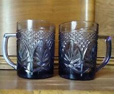 Luminarc Arcoroc Amethyst Glass Mugs France Diamond Cut Leaf Pattern Set of Two