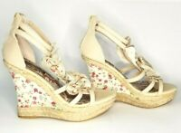 Doll House espadrilles Floral Strappy wedges Size 8.5 M