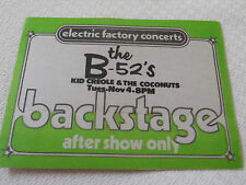 B-52's - special guest Kid Creole & The Coconuts -backstage pass after show only