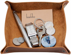 boshiho Valet Tray for Men, Leather Jewelry Catchall Key Phone Coin Box Change -