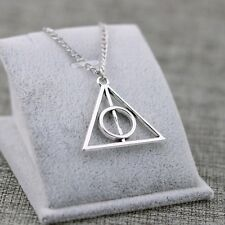 Harry Potter Deathly Hallows Silver Pendant Triangle Necklace USA Shipper #185