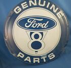 VINTAGE+STYLE+GENUINE+FORD+V8+Motor+PARTS+METAL+TIN+SIGN+auto+car+truck+round