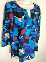 Women's Dana Buchman Metal Accent Keyhole Top Teal Floral Print Blouse NWT