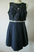 LIPSY Cocktail Dress, Size 12, Sleeveless, Navy Blue, Lace & Beaded Front, BNWT