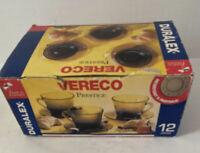 Vtg Duralex Vereco Prestige Cups Saucers France Smoke Color Diamond Pat Set 6
