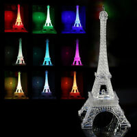 USB Novelty 7 Colors Changing Eiffel Tower LED Night Light 3D Desk Table Lamp