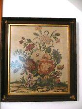 Vintage Framed Floral Needlepoint Antique Frame