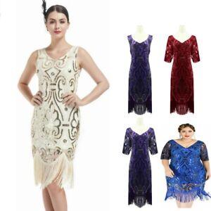 1920s Retro Flapper Sequin Beaded Gatsby Charleston Dresses Womens Dress Party