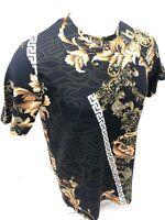 Mens PRESTIGIOUS SHORT Sleeve Shirt BLACK GOLD LEAF DIAMOND RUBY SILKY 108 NEW
