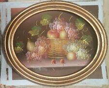 quadro dipinto A MANO SU TELA cornice barocCa LEGNO classico  FOGLIA ORO 51x61