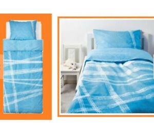 IKEA Stojig Twin Duvet Cover Pillowcase Set Blue White Tire Track(Lackert Mate)