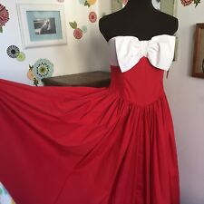 1980s Cocktail Dress Red w/ Giant White Bow Vintage Geary Roark Kamisato Kawaii