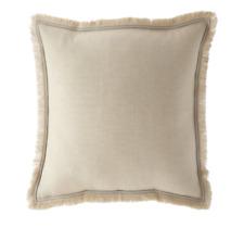 Ralph Lauren Constantina Corbella EURO Pillow Sham Fringed Linen Sham Buff $215