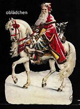 # GLANZBILDER # EF 5124 Bild - Karte / Riesenoblate: Santa auf einem Schimmel